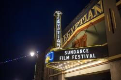 The marquee of the Egyptian Theatre promotes the 2020 Sundance Film Festival in Park City, Utah.