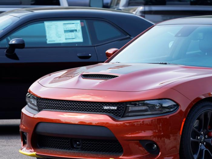 An unsold 2020 Charger sedan sits at a Dodge dealership, Sunday, Sept. 6, 2020, in Littleton, Colo. The best thing you can do for your car's value is to take care of it