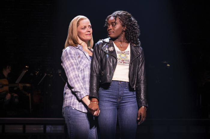 "This image released by Vivacity Media Group shows Elizabeth Stanley, left, and Celia Rose Gooding during a performance of ""Jagged Little Pill."""