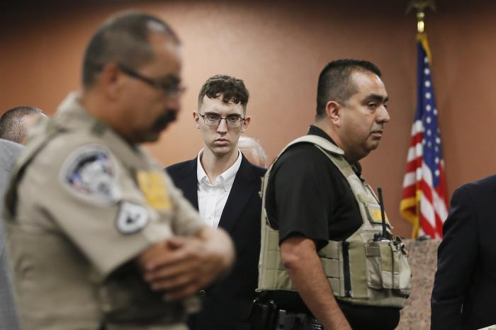 In the is Oct. 10, 2019 file photo, El Paso Walmart shooting suspect Patrick Crusius pleads not guilty during his arraignment in El Paso, Texas.