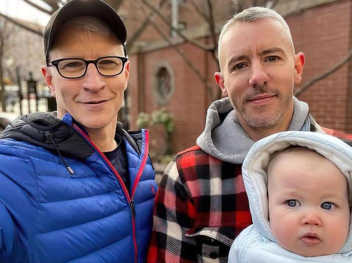 Anderson Cooper, Benjamin Maisani and their son Wyatt.