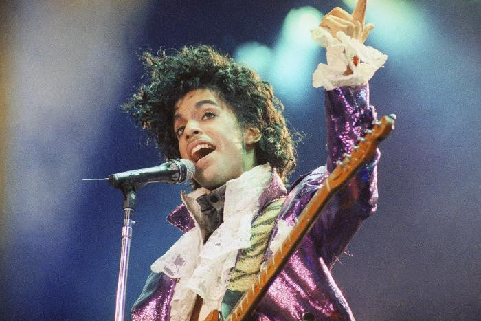 Prince performs at the Forum in Inglewood, Calif.