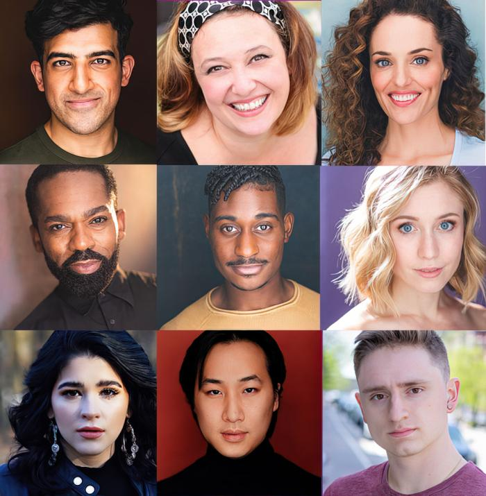 """The cast of SpeakEasy Stage's """"Songs for a New World"""":  Rashed Al Nuaimi, Laura Marie Duncan, Jennifer Ellis, Dwayne P. Mitchell, Davron S. Monroe, Mikayla Myers, Rebekah Rae Robles, Alexander Tan, and Victor Carrillo Tracey"""