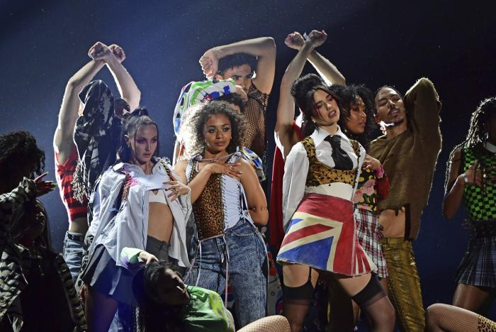 Dua Lipa performs during the Brit Awards 2021 at the O2 Arena, London.