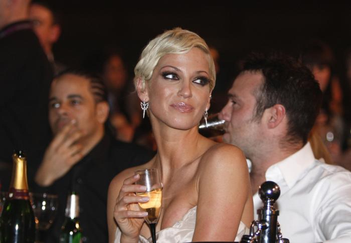 Singer Sarah Harding from British band Girls Aloud, attends the Brit Awards 2009 ceremony
